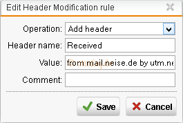 Sophos UTM Mail Header add Recived
